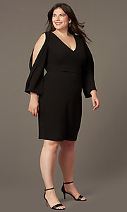 Image of plus-size short black formal dress with sleeves. Style: SY-IXD6427AP Front Image