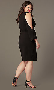 Image of plus-size short black formal dress with sleeves. Style: SY-IXD6427AP Back Image