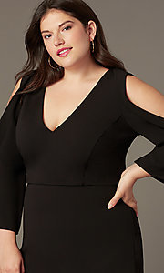 Image of plus-size short black formal dress with sleeves. Style: SY-IXD6427AP Detail Image 1