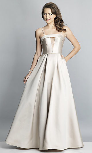 Long A-Line Formal Gown with an Illusion Inset