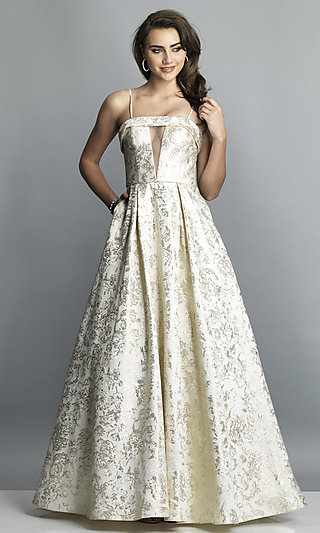 Long A-Line Gold Print Formal Gown with Pockets