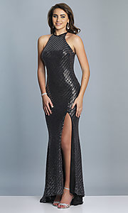 Image of long black and silver metallic prom dress. Style: DJ-A6919 Front Image