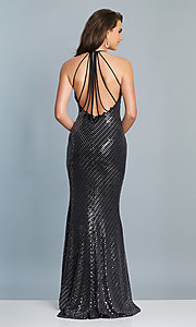 Image of long black and silver metallic prom dress. Style: DJ-A6919 Back Image