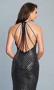 Image of long black and silver metallic prom dress. Style: DJ-A6919 Detail Image 2