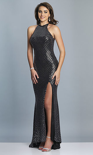 Long Silver and Black High-Neck Formal Gown