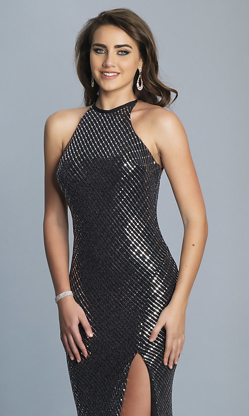 Image of long black and silver metallic prom dress. Style: DJ-A6919 Detail Image 1