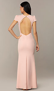 Image of open-back cap-sleeve long formal dress. Style: DC-D47272 Detail Image 6