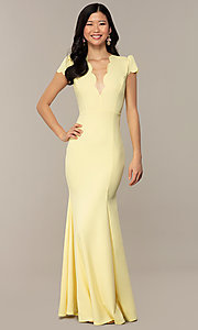 Image of open-back cap-sleeve long formal dress. Style: DC-D47272 Detail Image 3