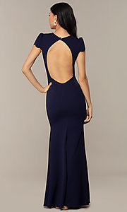 Image of open-back cap-sleeve long formal dress. Style: DC-D47272 Back Image