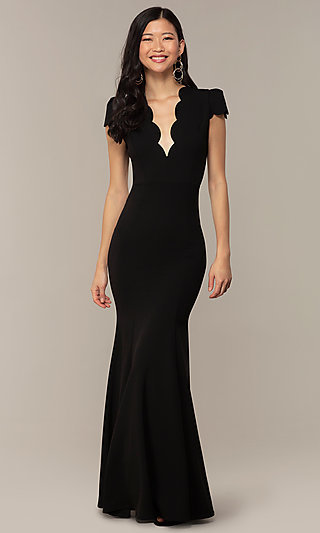 Open-Back Cap-Sleeve Long Formal Dress