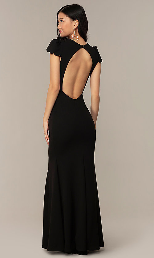 Image of open-back cap-sleeve long formal dress. Style: DC-D47272 Detail Image 2
