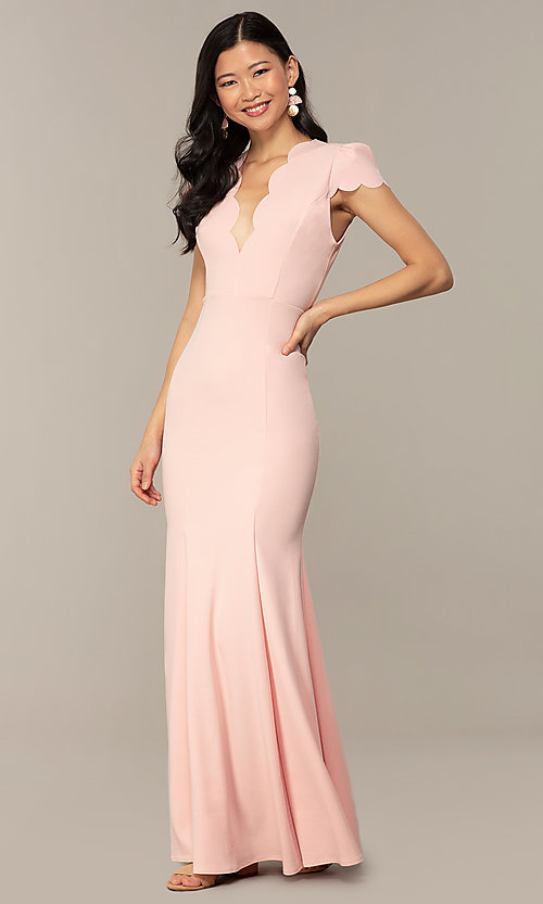 Image of open-back cap-sleeve long formal dress. Style: DC-D47272 Detail Image 1