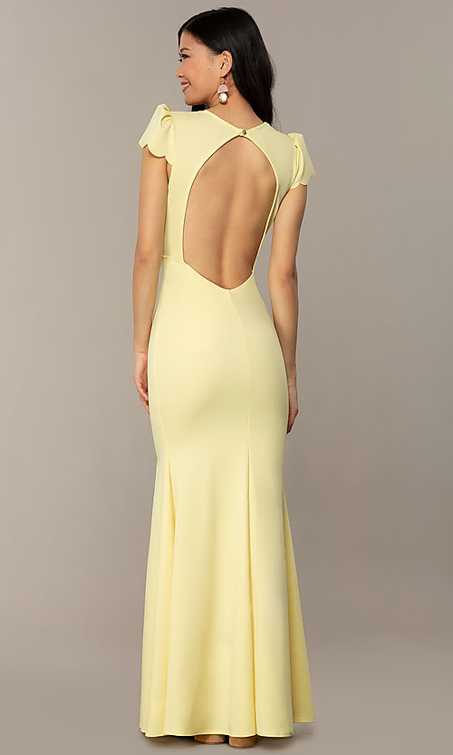 Image of open-back cap-sleeve long formal dress. Style: DC-D47272 Detail Image 4