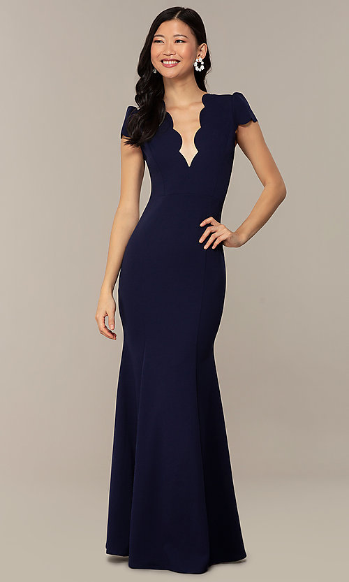 Image of open-back cap-sleeve long formal dress. Style: DC-D47272 Front Image