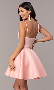 Image of short scuba fit-and-flare v-neck graduation dress. Style: DC-D47256 Detail Image 5