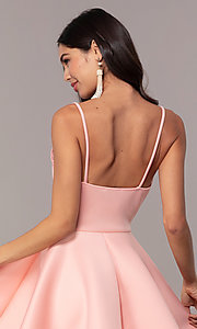 Image of short scuba fit-and-flare v-neck graduation dress. Style: DC-D47256 Detail Image 7