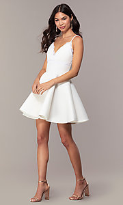 Image of short scuba fit-and-flare v-neck graduation dress. Style: DC-D47256 Detail Image 3