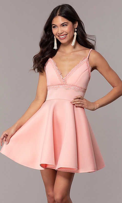 Image of short scuba fit-and-flare v-neck graduation dress. Style: DC-D47256 Detail Image 4