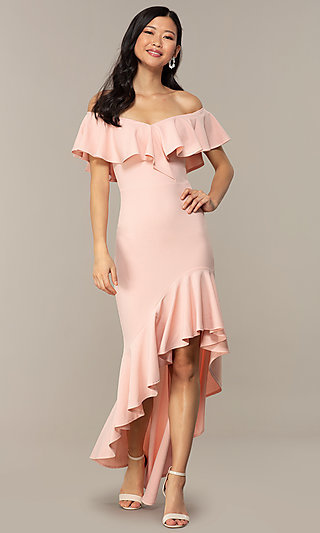 Off-the-Shoulder Wedding-Guest High-Low Dress
