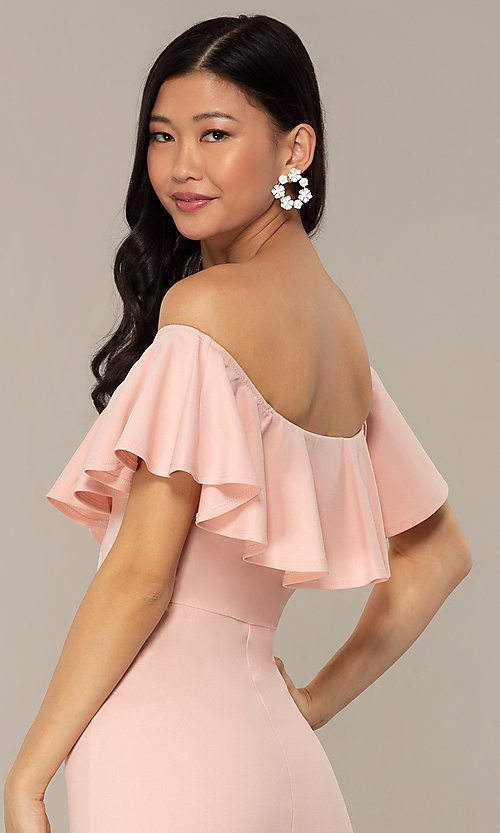Image of off-the-shoulder wedding-guest high-low dress. Style: DC-D47262 Detail Image 2