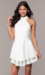 Image of short white party dress with tiered skirt. Style: DC-D47176 Front Image
