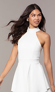 Image of short white party dress with tiered skirt. Style: DC-D47176 Detail Image 1