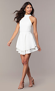 Image of short white party dress with tiered skirt. Style: DC-D47176 Detail Image 3