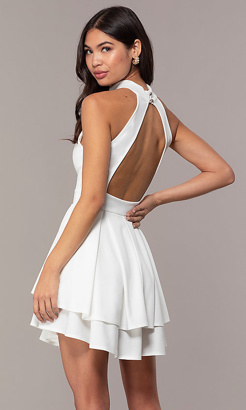 Image of short white party dress with tiered skirt. Style: DC-D47176 Back Image