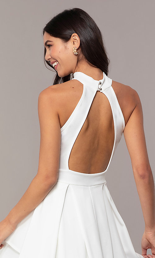Image of short white party dress with tiered skirt. Style: DC-D47176 Detail Image 2