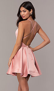 Image of open-back short graduation dress with thin straps. Style: DC-D46417 Back Image