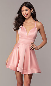 Image of open-back short graduation dress with thin straps. Style: DC-D46417 Front Image
