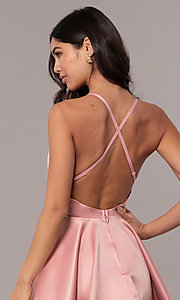 Image of open-back short graduation dress with thin straps. Style: DC-D46417 Detail Image 2