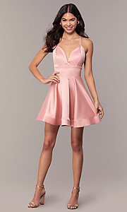 Image of open-back short graduation dress with thin straps. Style: DC-D46417 Detail Image 3