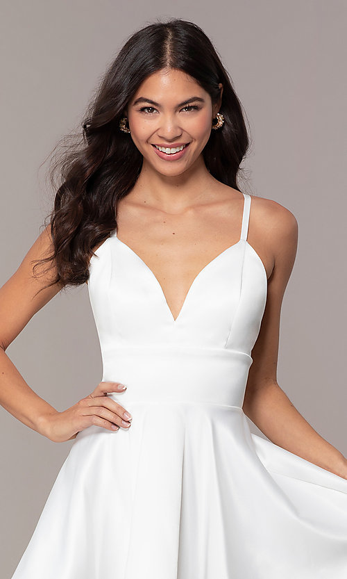Image of open-back short graduation dress with thin straps. Style: DC-D46417 Detail Image 1