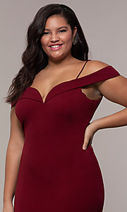 Image of long formal plus-size off-the-shoulder prom dress. Style: MCR-SD-1559P Detail Image 1