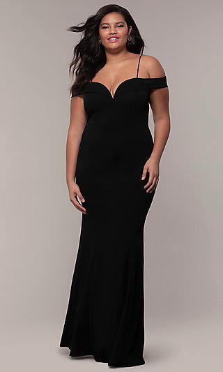 Formal Long Plus-Size Off-the-Shoulder Prom Dress