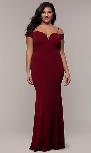 Long Formal Plus-Size Off-the-Shoulder Prom Dress