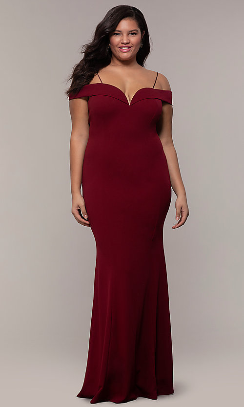 Image of long formal plus-size off-the-shoulder prom dress. Style: MCR-SD-1559P Front Image