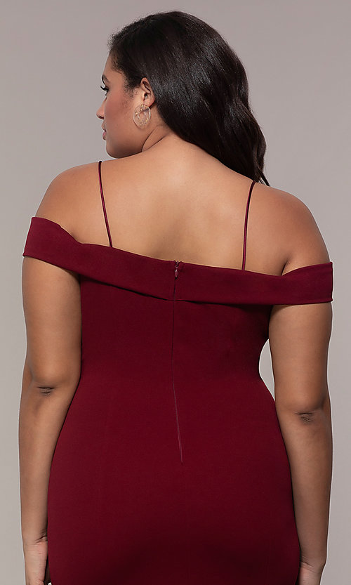 Image of long formal plus-size off-the-shoulder prom dress. Style: MCR-SD-1559P Detail Image 2
