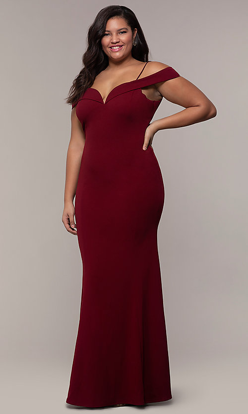 Image of long formal plus-size off-the-shoulder prom dress. Style: MCR-SD-1559P Detail Image 3