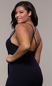 Image of long v-neck plus-size formal dress by Simply.  Style: MCR-SD-2601P Detail Image 7