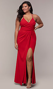 Image of long v-neck plus-size formal dress by Simply.  Style: MCR-SD-2601P Front Image