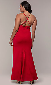 Image of long v-neck plus-size formal dress by Simply.  Style: MCR-SD-2601P Back Image