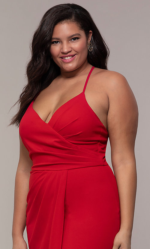 Image of long v-neck plus-size formal dress by Simply.  Style: MCR-SD-2601P Detail Image 1