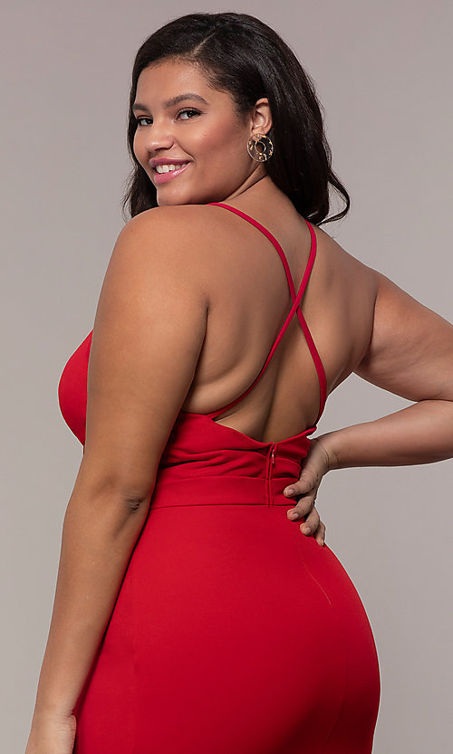 Image of long v-neck plus-size formal dress by Simply.  Style: MCR-SD-2601P Detail Image 2