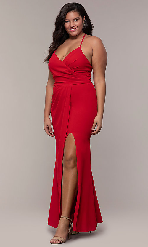 Image of long v-neck plus-size formal dress by Simply.  Style: MCR-SD-2601P Detail Image 3
