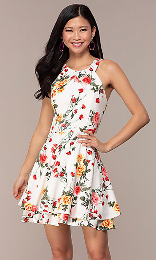 Short Tiered-Skirt Ivory Floral-Print Grad Dress