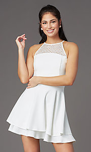 Image of ivory white short graduation party dress with lace. Style: EM-HAJ-4161-120 Front Image