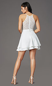 Image of ivory white short graduation party dress with lace. Style: EM-HAJ-4161-120 Back Image