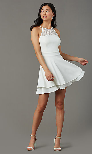 Ivory White Short Graduation Party Dress with Lace